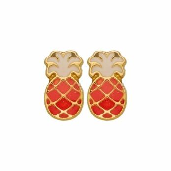 Boucles d'oreilles Ananas en or jaune et laque