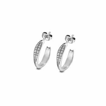 Boucles d'oreilles créoles Lotus Style Urban Woman en acier et oxydes de zirconium