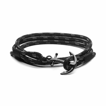 Bracelet Tom Hope Triple Black L noir en argent
