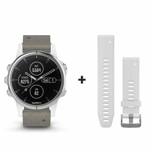 Montre connectée Garmin fenix 5S Plus Sapphire blanche avec bracelet daim