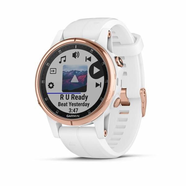 Montre connectée Garmin fenix 5S Plus Sapphire plaquée or rose, bracelet blanc