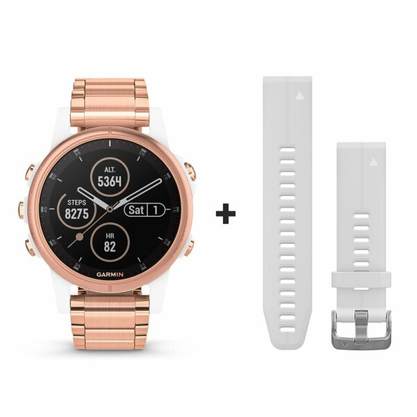 Montre connectée Garmin fenix 5S Plus Sapphire blanche et plaquée or rose avec bracelet plaqué or rose