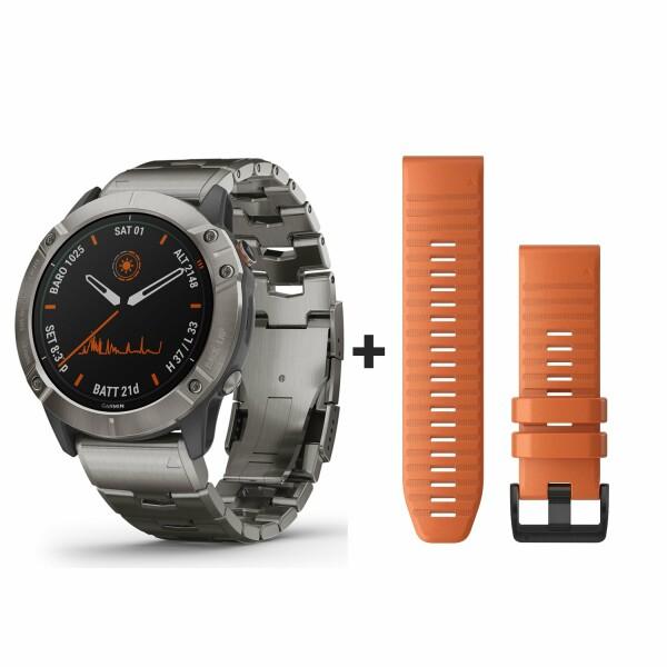 Montre connectée Garmin fenix 6X Pro Solar avec bracelet en titane