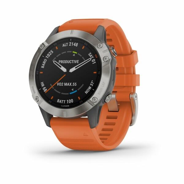 Montre connectée Garmin fenix 6 Sapphire avec bracelet orange