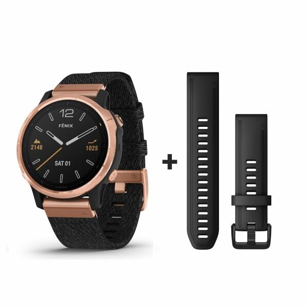 Montre connectée Garmin fenix 6S Sapphire avec bracelet en nylon noir