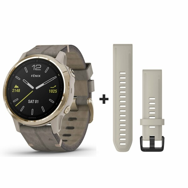 Montre connectée Garmin fenix 6S Sapphire avec bracelet en daim gris