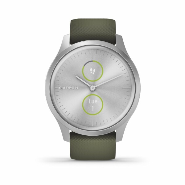 Montre Garmin vívomove Style Silver/Silicone Moss Green