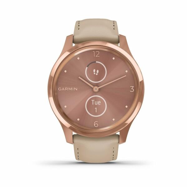 Montre Garmin vívomove Luxe Rose Gold/Cuir Italien Light Sand