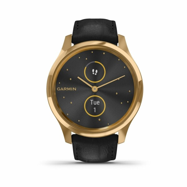 Montre Garmin vívomove Luxe Gold/Cuir Embossé Black