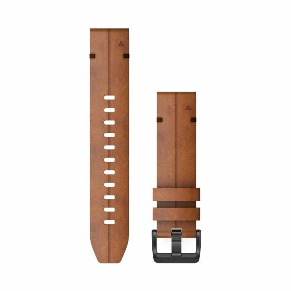 Bracelet de montre Garmin Quickfit 22 en cuir marron