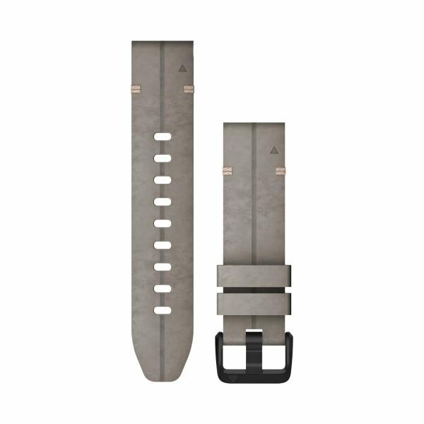 Bracelet de montre Garmin Quickfit 20 en cuir gris