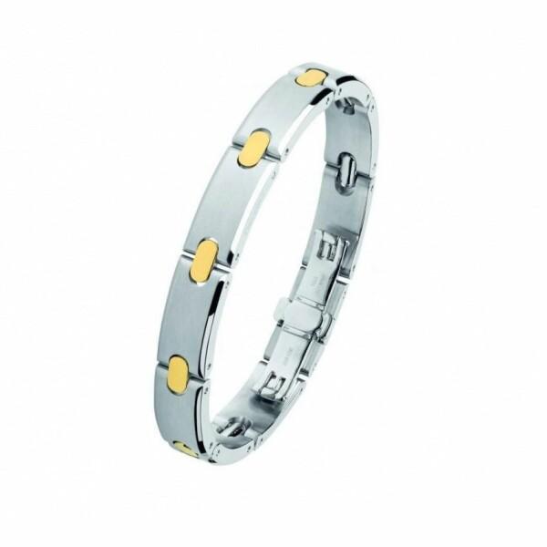Bracelet Pequignet Moorea en Acier et or jaune largeur 10mm