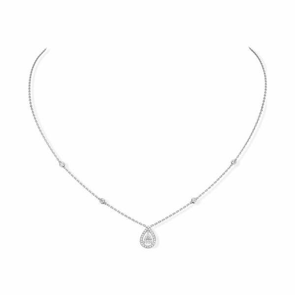 Collier Messika Joy en or blanc et diamant poire