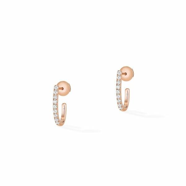 Boucles d'oreilles créoles Messika Gatsby XS en or rose et diamants