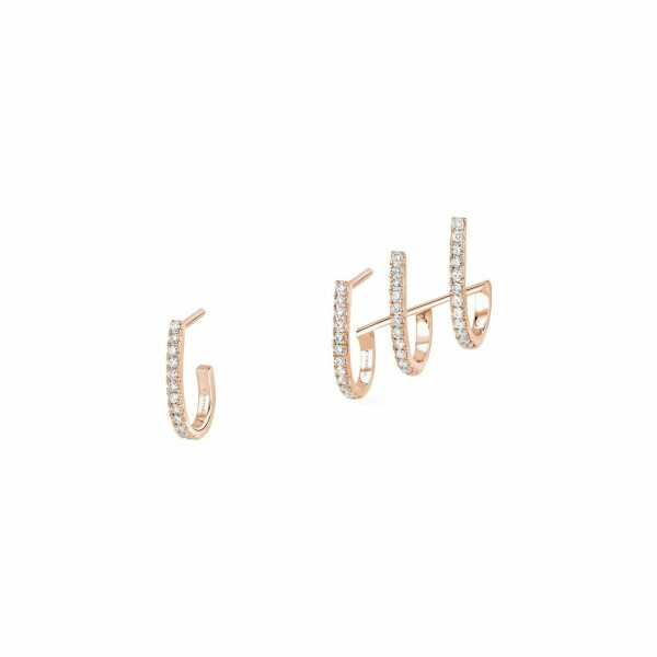 Boucles d'oreilles Messika Gatsby en or rose et diamants