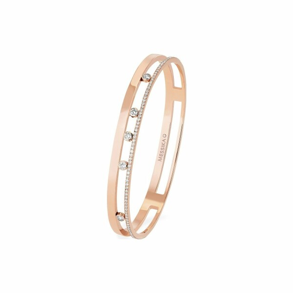 Bracelet jonc Messika Move Romane en or rose et diamants