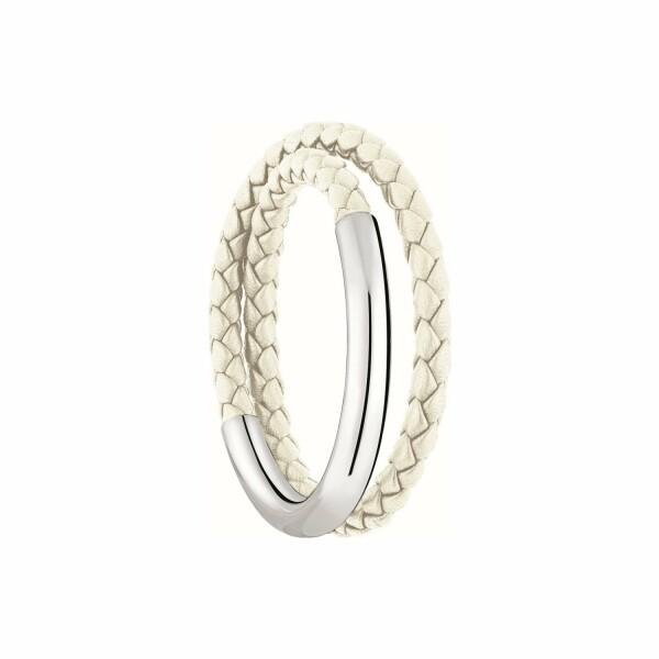 Bracelet Christofle Duo Complice Grand modèle en argent et cuir, taille 2