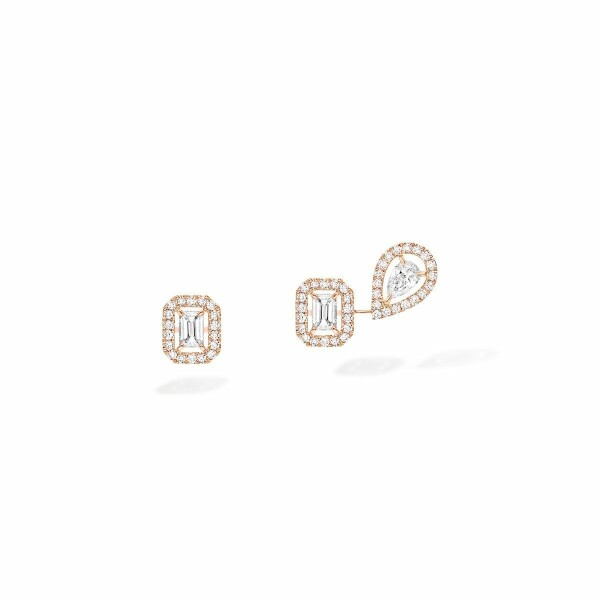 Boucles d'oreilles Messika My Twin 1+2 en or rose et diamants
