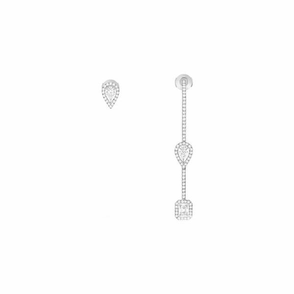 Boucles d'oreilles Messika My Twin hameçon pavé et puce en or blanc et diamants