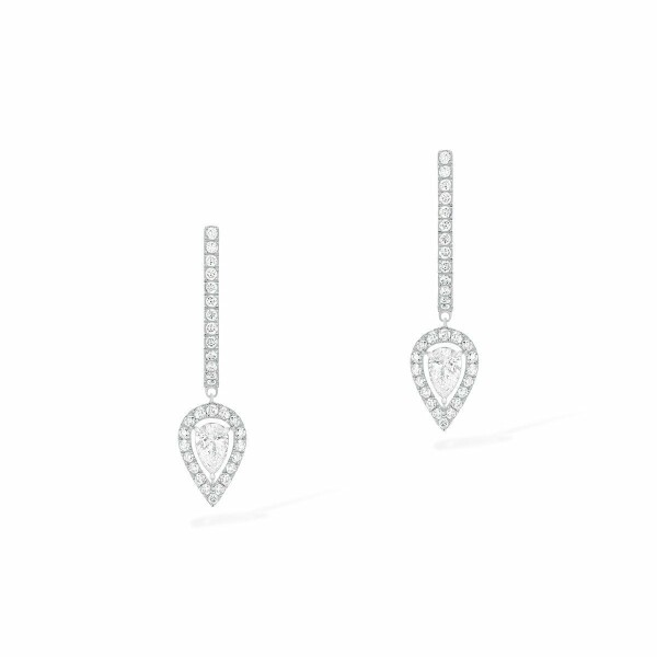 Boucles d'oreilles créoles Messika Joy en or blanc et diamants