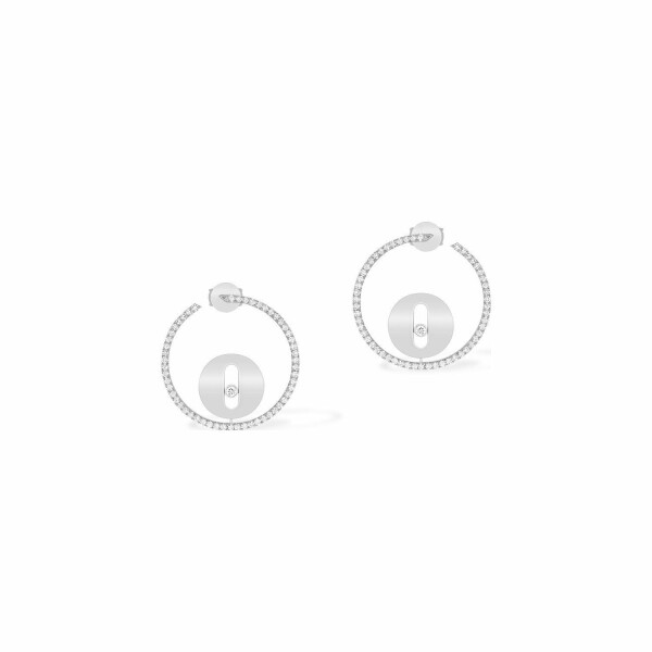 Boucles d'oreilles créoles Messika Lucky Move PM en or blanc et diamants