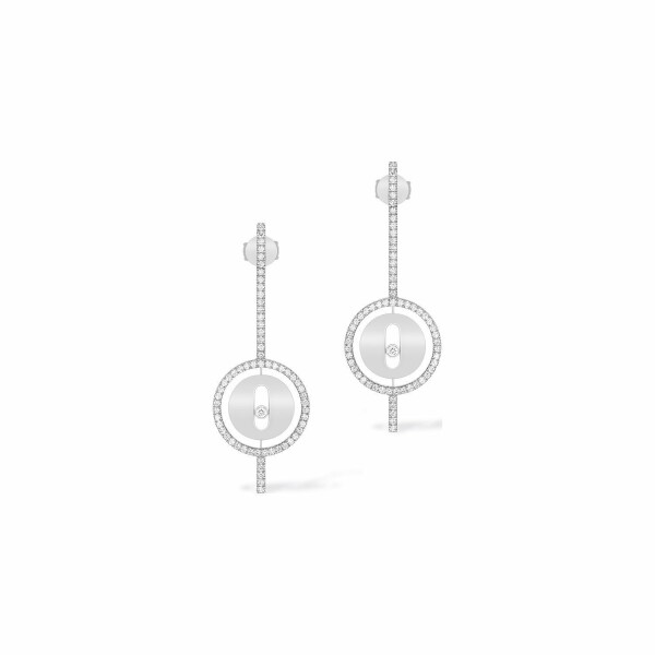 Boucles d'oreilles pendantes Messika Lucky Move Arrow en or blanc et diamants
