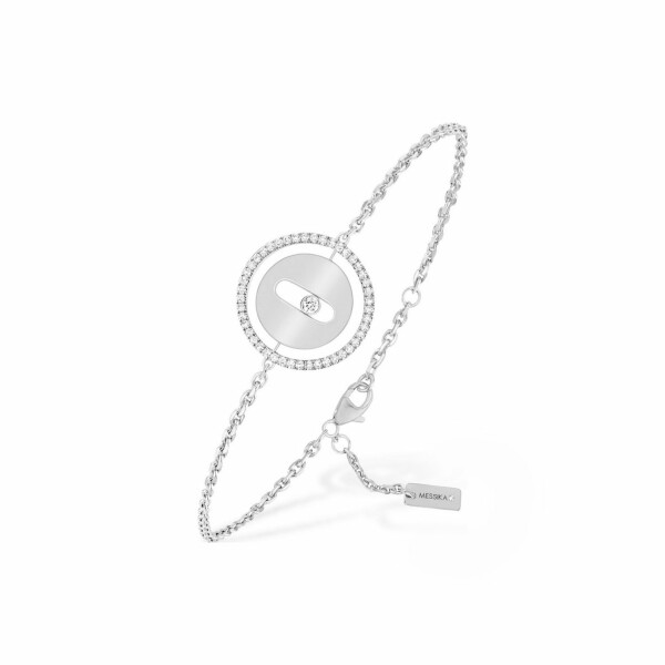 Bracelet sur chaine Messika Lucky Move PM en or blanc et diamants