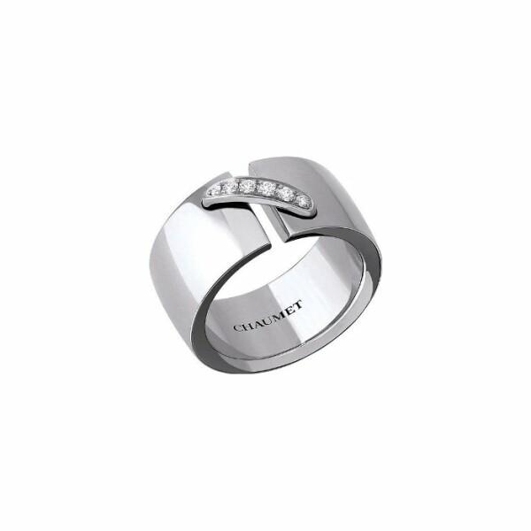 Bague Chaumet Liens Simple Moyen Modèle en Or blanc et Diamant