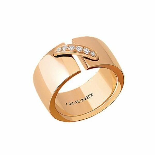 Bague Chaumet Liens Simple Moyen Modèle en Or rose et Diamant