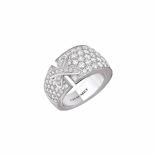 Bague Chaumet Liens Croisés Moyen Modèle en Or blanc et Diamant