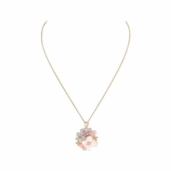Pendentif Chaumet Hortensia Aube Rosée en or rose et diamants