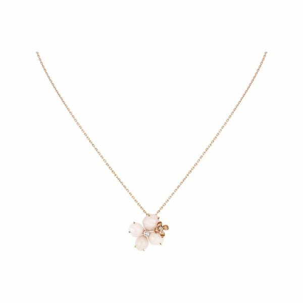Pendentif Chaumet Aube Rosée en or rose et diamants et opale rose