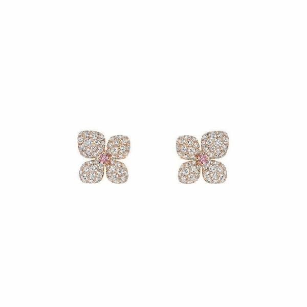 Boucles d'oreilles Chaumet Hortensia Aube Rosée en or rose, diamants et saphirs roses