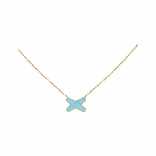 Pendentif Chaumet Jeux de Liens en Or rose Turquoise et Diamant