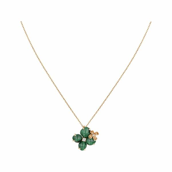 Pendentif Chaumet Hortensia Eden en or rose, diamants et malachite