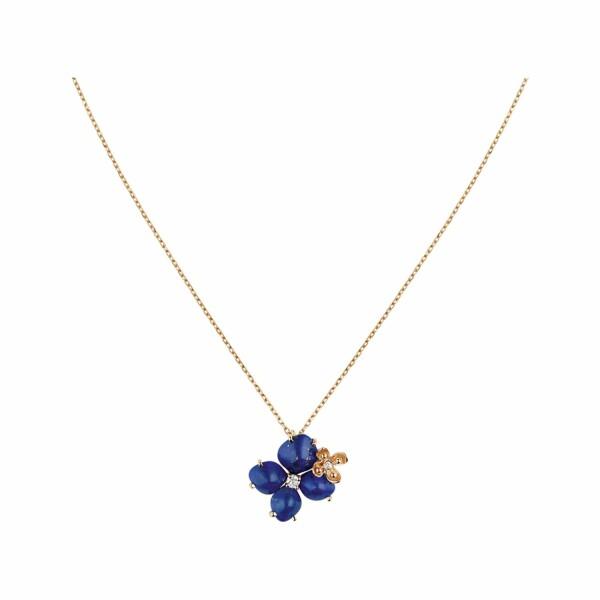Pendentif Chaumet Hortensia Eden en or rose, diamants et lapis lazuli