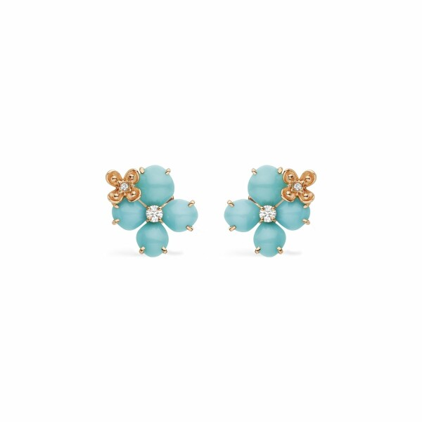 Boucles d'oreilles Chaumet Hortensia Eden en or rose, diamants et turquoise