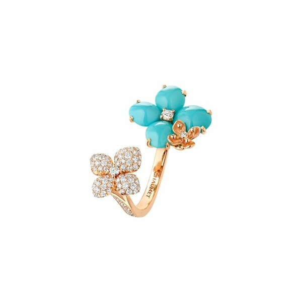 Bague Chaumet Hortensia Eden en or rose, diamants et turquoise