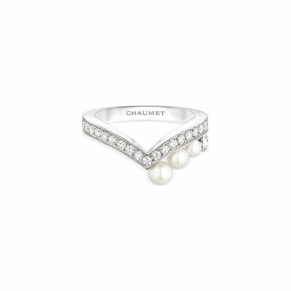 Bague Chaumet Joséphine Aigrette en or blanc, diamants et perles de culture Akoya