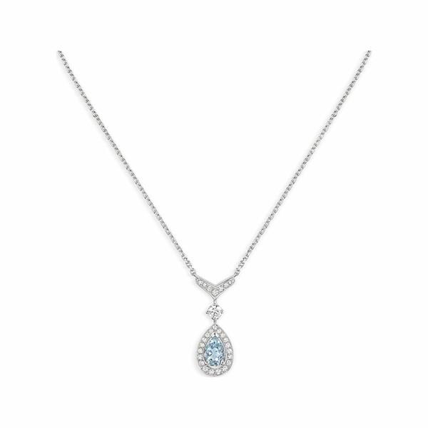 Pendentif Chaumet Joséphine Aigrette en or blanc, aigue-marine et diamants