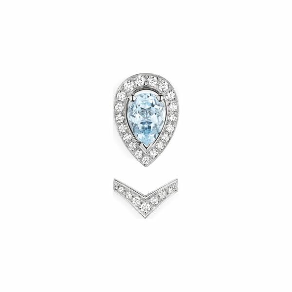 Mono boucle d'oreille Chaumet Joséphine Aigrette en or blanc, diamants et aigue-marine