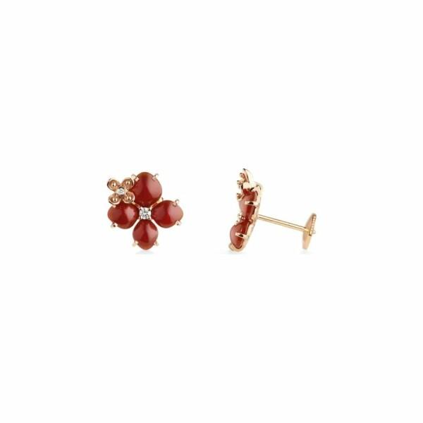 Boucles d'oreilles Chaumet Hortensia Eden en or rose, diamants et cornaline