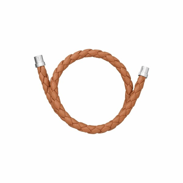 Bracelet Christofle Duo Complice en argent et cuir caramel, diamètre 5.6cm