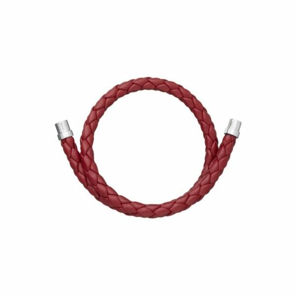 Bracelet Christofle Duo Complice en argent et cuir rouge, diamètre 6.3cm