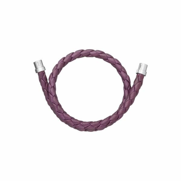 Bracelet Christofle Duo Complice en argent et cuir violet, diamètre 5.9cm