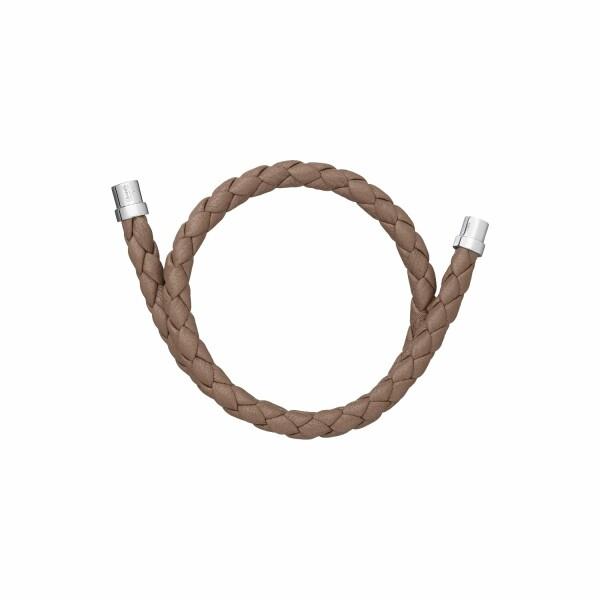 Bracelet Christofle Duo Complice en argent et cuir gris, diamètre 5.9cm