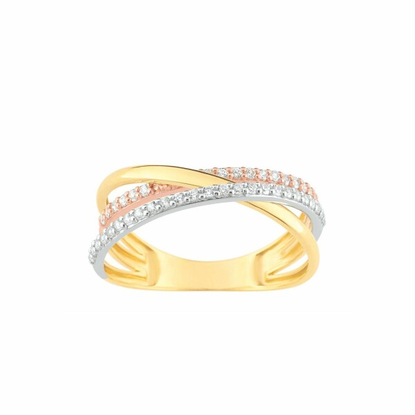 Bague en or rose, or jaune, or blanc et oxydes de zirconium