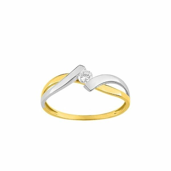 Solitaire en or blanc, or jaune et oxydes de zirconium