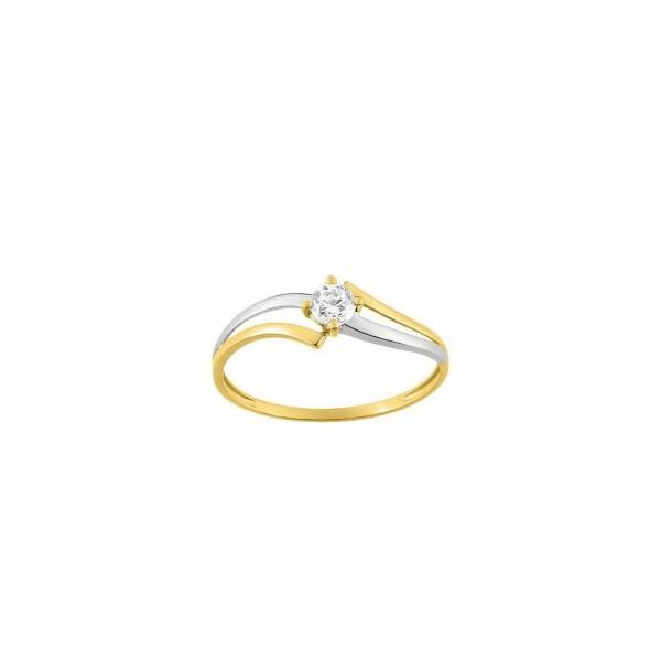 Solitaire en or blanc, or jaune et oxyde de zirconium