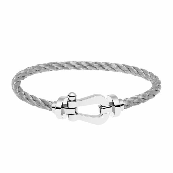 Bracelet FRED Force 10 grand modèle manille en or blanc et câble en acier